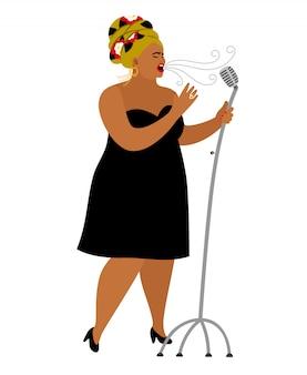 Desempenho de mulher afro-americana, vocal de jazz de cantora