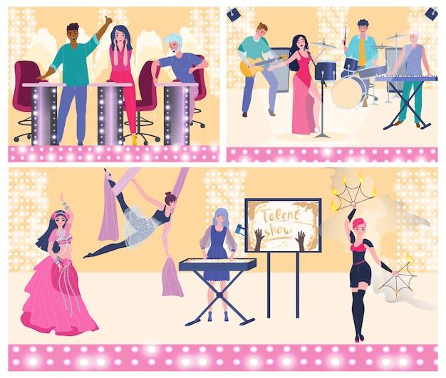 Desempenho de programa de tv de talentos, júri e participantes, pessoas vector a ilustração
