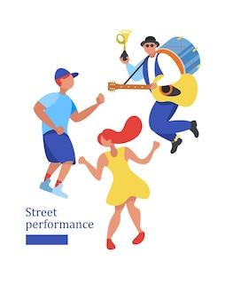 Desempenho de rua. dançarino de rua. ilustração vetorial.