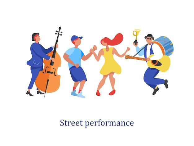 Desempenho de rua. músico de rua. ilustração vetorial.