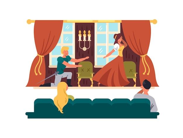 Desempenho teatral no palco, atores representam drama na ilustração vetorial de teatro