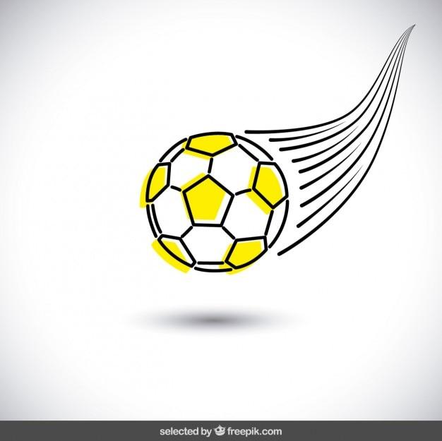 Desenhada à mão bola de futebol amarela