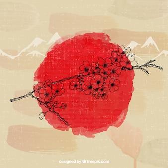 Desenhada árvore de cereja japonesa mão