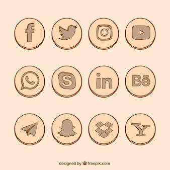 Desenhada coleção ícones da rede social mão