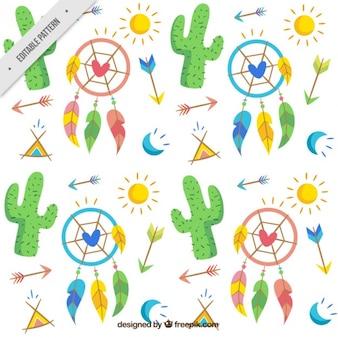 Desenhada padrão de cactos e elementos boho mão
