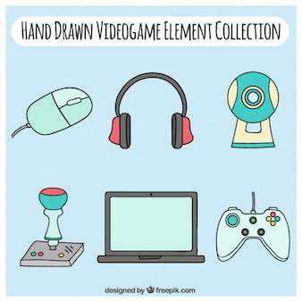 Desenhadas mão acessórios de videogames