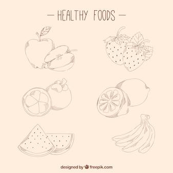 Desenhadas mão alimentos saudáveis