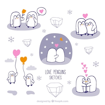 Desenhadas mão amantes bonitos do pinguim
