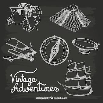 Desenhadas mão aventuras do vintage