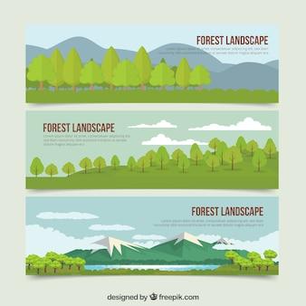 Desenhadas mão banners belas paisagens da natureza