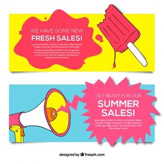 Desenhadas mão banners de venda do verão