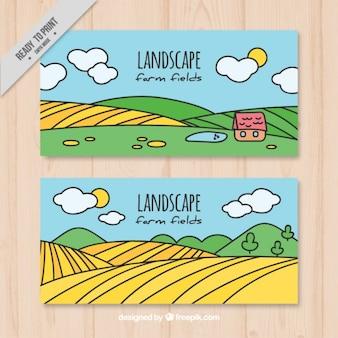 Desenhadas mão banners prados