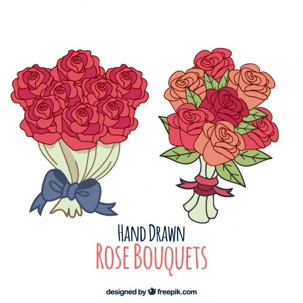 Desenhadas mão buquês de rosas