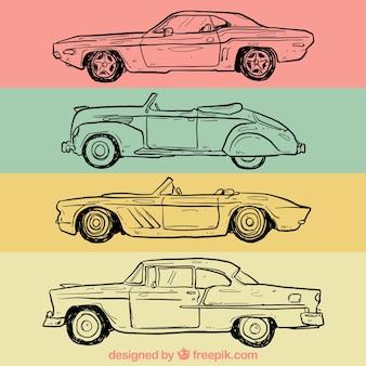 Desenhadas mão carros retros