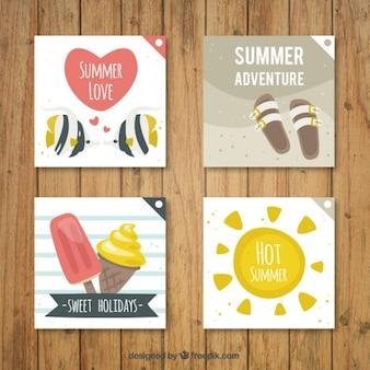 Desenhadas mão cartões bonito do verão