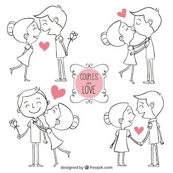 Desenhadas mão casais apaixonados