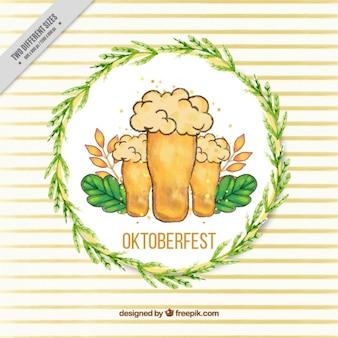 Desenhadas mão cervejas com círculo ornamental de folhas