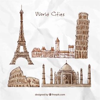 Desenhadas mão cidades do mundo