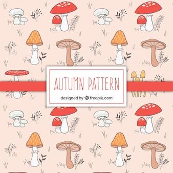 Desenhadas mão cogumelos padrão