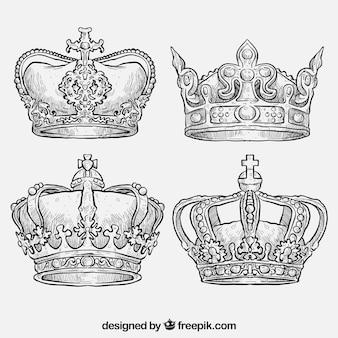 Desenhadas mão coroas reais