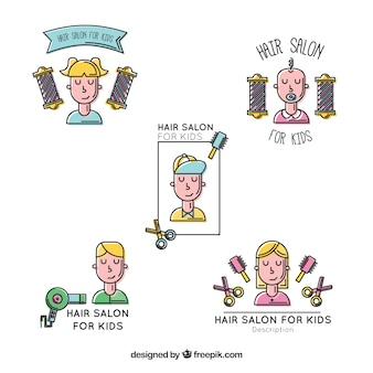 Desenhadas mão crianças cabeleireiro logos