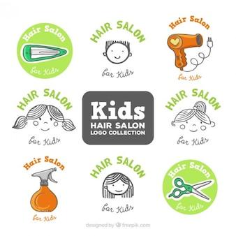 Desenhadas mão crianças logotipos cabeleireiro