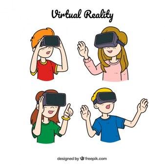 Desenhadas mão crianças que jogam com realidade virtual