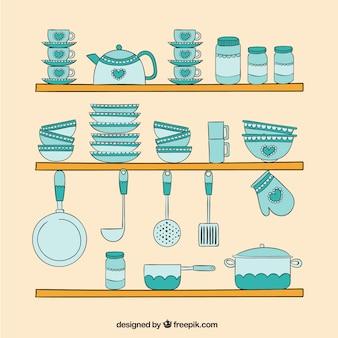 Desenhadas mão elementos da cozinha turquesa