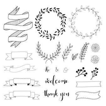 Desenhadas mão elementos decorativos