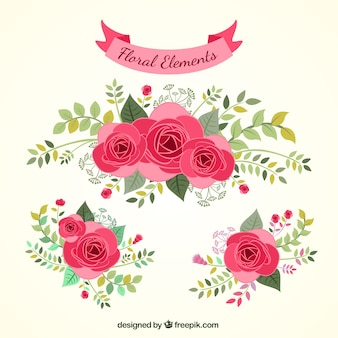 Desenhadas mão elementos florais