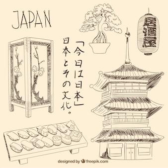 Desenhadas mão elementos japoneses