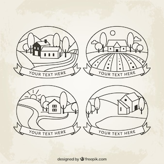 Desenhadas mão emblemas campo