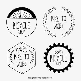 Desenhadas mão emblemas de bicicletas no estilo do vintage