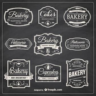 Desenhadas mão emblemas de padaria