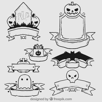 Desenhadas mão emblemas do dia das bruxas