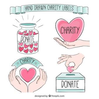 Desenhadas mão etiquetas bonitas caridade