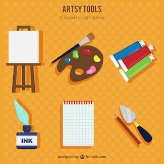 Desenhadas mão ferramentas artísticas