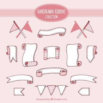 Desenhadas mão fitas cor de rosa set