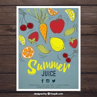 Desenhadas mão legumes e sucos de frutas de folhetos