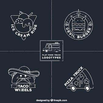 Desenhadas mão logos caminhão de alimentos em estilo quadro-negro