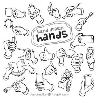 Desenhadas mão mãos