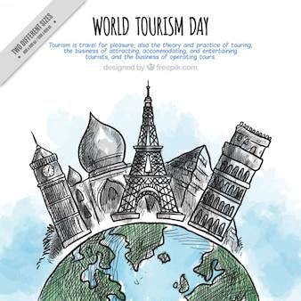 Desenhadas mão monumentos fundo para o dia mundial do turismo