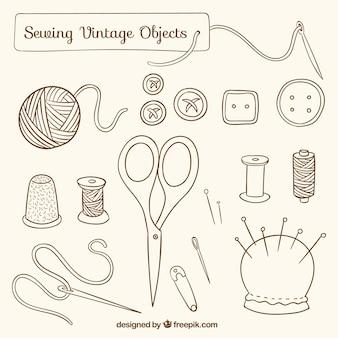 Desenhadas mão objetos de costura do vintage