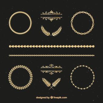 Desenhadas mão ornamentos de ouro