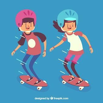 Desenhadas mão patinadores com equipamentos