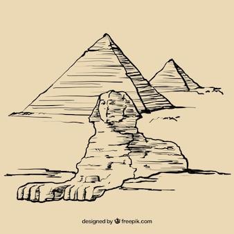 Desenhadas mão pirâmides egípcias