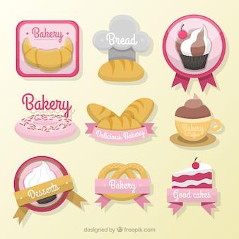 Desenhadas mão produtos de padaria pacote