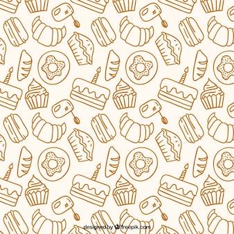 Desenhadas mão produtos de padaria padrão