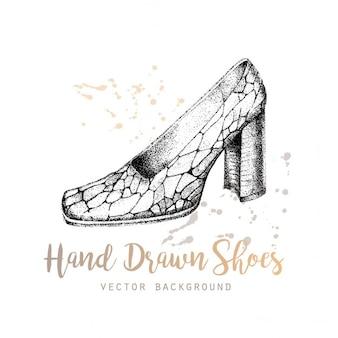 Desenhadas mão sapatos vetor de fundo