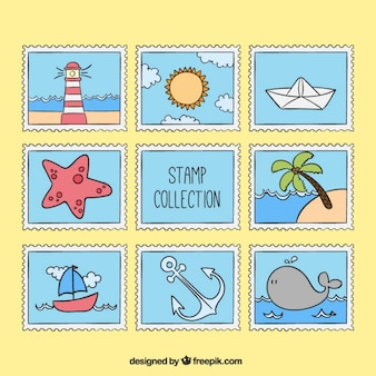 Desenhadas mão selos elementos de verão